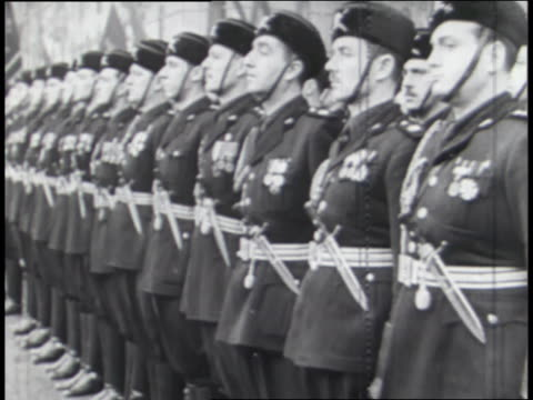 soldiers wear the military uniforms of italy, germany, and japan reflecting the secret society of the axis powers. - axis powers stock videos & royalty-free footage