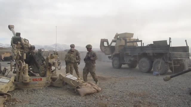 soldiers with 1st battalion 76th field artillery regiment 4th infantry brigade combat team 3rd infantry division fire the m777 howitzer in order to... - grunt fish stock videos and b-roll footage