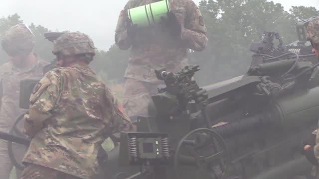soldiers with arkansas national guard fire newly issued m777a2 towed 155mm howitzers during a live fire training exercise at fort chaffee joint... - howitzer stock videos & royalty-free footage