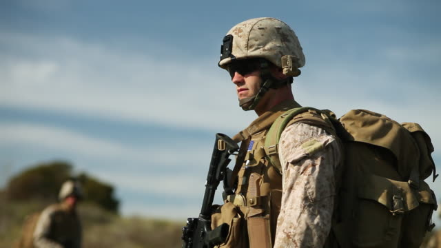 vidéos et rushes de ms r/f  soldier's with dogs audio / camp pendleton, ca, united states - soldat