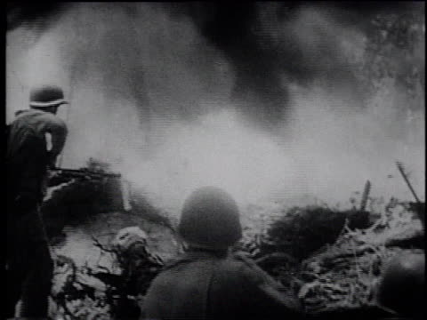 ms soldiers with flamethrowers in combat - frank capra video stock e b–roll