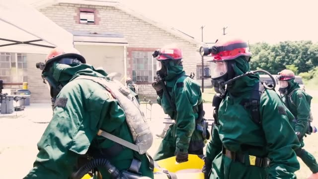 soldiers with illinois national guard chemical, biological, radiological, nuclear enhanced response force package held training and validation... - radiation stock videos & royalty-free footage