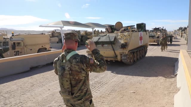 soldiers with north carolina national guard deployed for operation hickory sting at the national training center fort irwin california to conduct... - national guard stock videos and b-roll footage