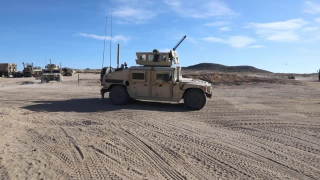 soldiers with north carolina national guard deployed for operation hickory sting depart national training center fort irwin california to conduct... - machine gun stock videos & royalty-free footage