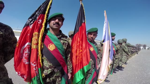 soldiers with the afghan national army participate in a graduation ceremony from basic training at the ana's combined fielding center on march 18... - afghan national army stock videos & royalty-free footage