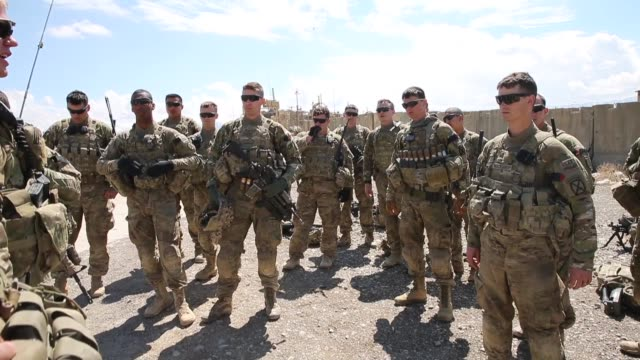 MS Soldiers with the US Army's 2nd Battalion 87th Infantry Regiment 3rd Brigade Combat Team 10th Mountain Division prepare to head out on a mission...