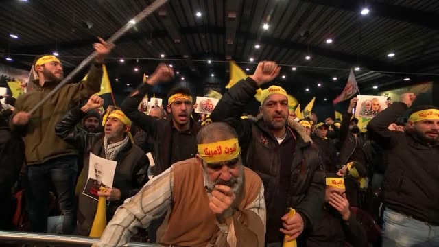 iraqi parliament calls for expulsion of all us troops lebanon beirut int hezbollah supporters chanting their support for iran and general qasem... - hezbollah stock videos & royalty-free footage