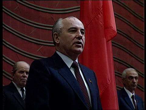 Solemn ceremony CPSU Party Congress March 11 1990 Gorbachev's speech takes the oath as President of the Soviet Union Ruslan Khasbulatov standing near...