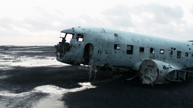 solheimasandur plane wreck scenery of iceland - iceland stock videos & royalty-free footage