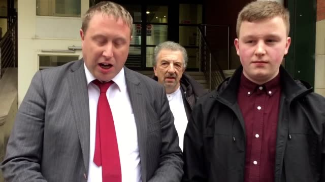 Solicitor Terry Walsh reads out statement on behalf of Jack Chappell outside Manchester Minshull Street Crown Court He committed distributed denial...