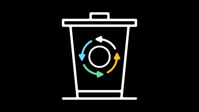 solid waste management line icon animation with alpha - rubbish dump stock videos & royalty-free footage