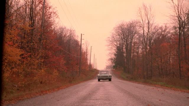 vídeos de stock e filmes b-roll de a solitary car drives along a wooded road. - grade de radiador