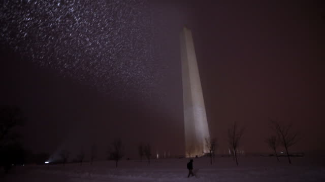Solitary person walks by Washington Monument in snow