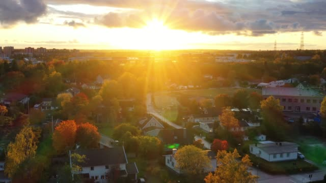 sollentuna beautiful fall day, seen from drone, sunset - sweden stock videos & royalty-free footage