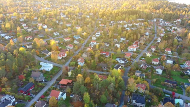 sollentuna beautiful fall day, seen from drone - tranquil scene stock videos & royalty-free footage
