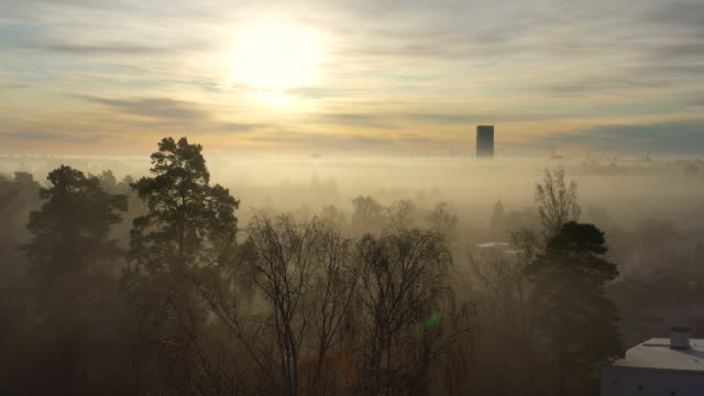 sollentuna foggy fall day, seen from drone, sunrise - drone stock videos & royalty-free footage