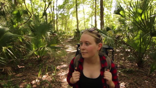 vídeos y material grabado en eventos de stock de solo female backpacker exploring a forest - cabello recogido