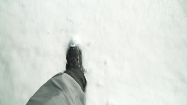 POV, Solo Traveler, Winter, Male Tourist Hiking in the Snow, Man Feet, Looking Down, Pair of Boots, Walking