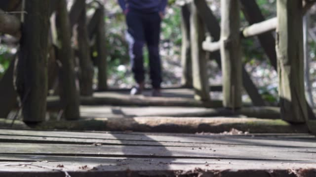 solo traveler, wooden bridge, close up of one young man tourist walking through eco path, enjoying the mountains, waterfalls and the forest, portrait, travel, exploration, adventure, tourism, outdoors, mountain hiking, travel destinations - wonderlust stock videos & royalty-free footage