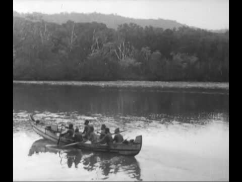 solomon islands natives domestick life/ melanesians fishing/ natives go by boats to trade with another tribes - kayak stock videos & royalty-free footage