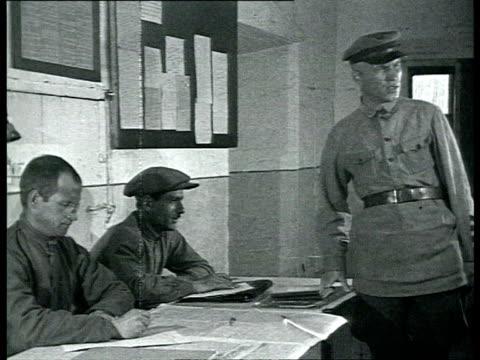 vídeos y material grabado en eventos de stock de solovki labor camp, prisoners come before camp committee / solovetsky island, russia - 1928