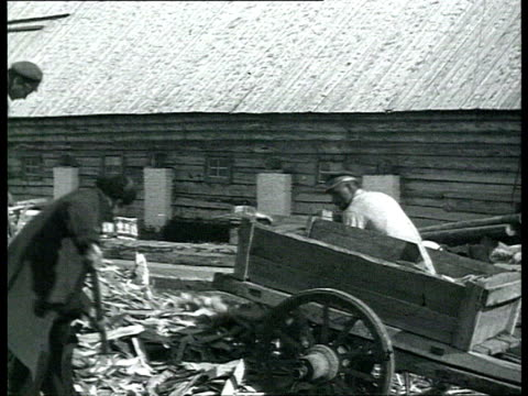 solovki labor camp prisoners walking carrying brooms and shovels on shoulders loading wood shavings women doing laundry and stacking bricks /... - cyrillic script stock videos & royalty-free footage