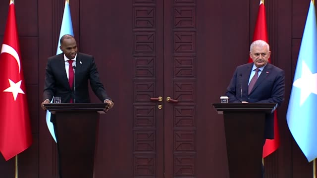 Somali Prime Minister Hassan Ali Khayre speaks during a joint press conference with his Turkish counterpart Binali Yildirim at the Cankaya Mansion in...