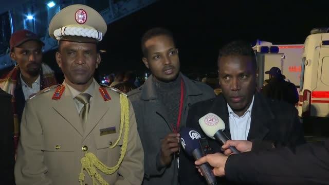 vídeos de stock, filmes e b-roll de somalian diplomat to ankara, suleiman mohamed karshe appreciates turkey's help after bomb-laden terror attack in mogadishu on december 29, 2019. a... - embaixador