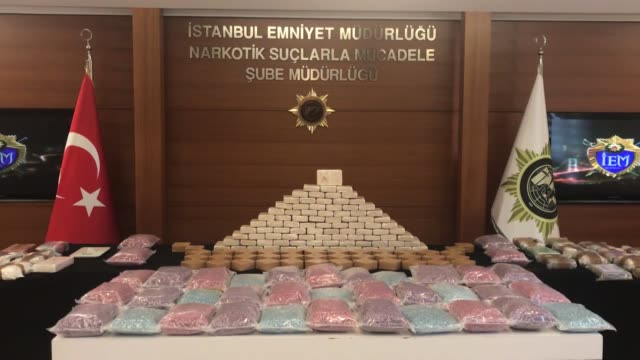 Some 115 kilogram of cocaine and heroin and more than half million opiate pills were seized in largescale bust in Istanbul Turkey on January 13 2019...