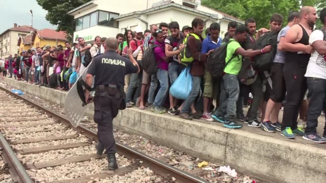 some 2000 mostly syrian refugees spent a rainy night stranded in no man's land between greece and macedonia as hundreds more began arriving saturday... - western europe stock videos & royalty-free footage