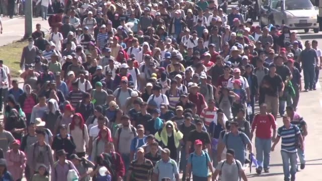 vídeos y material grabado en eventos de stock de some 2,000 salvadorans begin a long walk in hopes of reaching the united states in the wake of thousands of other central american migrants who are... - convoy