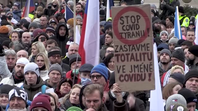 "some 3,000 protesters gather in prague's historic old town square for a ""let's open czechia"" rally, slamming the government restrictions introduced... - prague old town square stock videos & royalty-free footage"