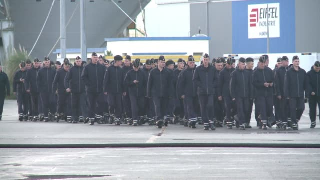 some 400 russian sailors training to operate the controversial mistral class warship built by france for russia left the country thursday as paris... - warship stock videos & royalty-free footage