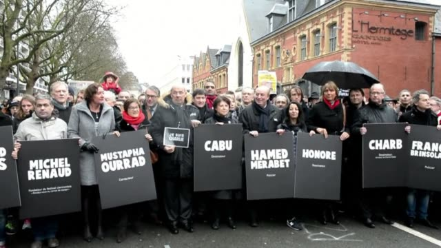 some 40000 take to the streets of the northern city of lille in a charlie hebdo solidarity march - lille stock videos & royalty-free footage