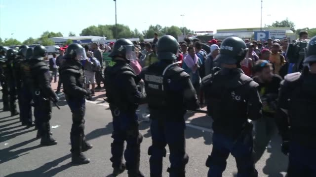 stockvideo's en b-roll-footage met some 400-500 migrants on wednesday broke through police lines in hungary near the main crossing point from serbia, afp reporters at the scene said - hongarije