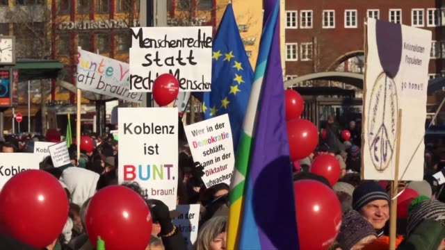 some 5000 protesters rally against a gathering of rightwing politicians under the banner koblenz stays colourful no room for rightwing populism - populism stock videos and b-roll footage