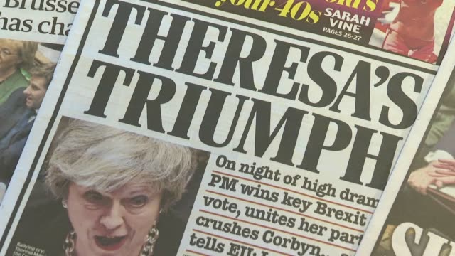 some british newspapers strike a triumphalist note the morning after theresa may won a parliamentary vote which will see her return to brussels to... - may stock videos & royalty-free footage
