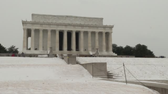 some generic shots of the Washington Monument Capitol flags Lincoln Memorial on a cold snowy day in January 2018