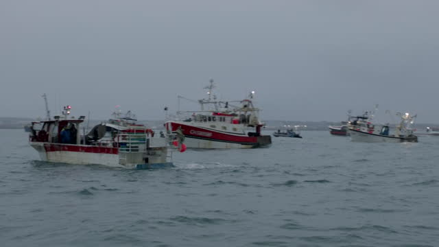 some jersey fishing boats supporting french fishing boats in their protest over access to jersey's waters in a post brexit dispute - leisure activity stock videos & royalty-free footage