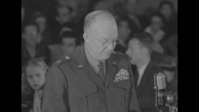[Some lip flap] SOT Gen Dwight Eisenhower as he testifies before the House Military Affairs Committee we must be prepared on Mday the day the enemy...