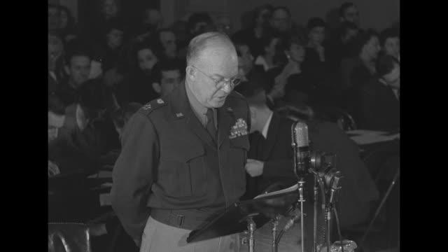 [some lip flap] sot gen dwight eisenhower during testimony before house military affairs committee it is my personal opinion that the greatest single... - testimony stock videos & royalty-free footage