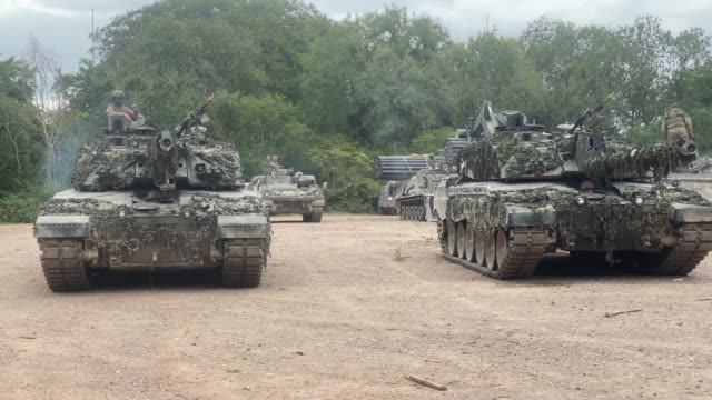 some of the assembled battlegroup during a training exercise on salisbury plain training area on july 03, 2020 in salisbury, united kingdom. 5 rifles... - nato stock-videos und b-roll-filmmaterial