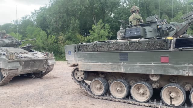 some of the assembled battlegroup during a training exercise on salisbury plain training area on july 03, 2020 in salisbury, united kingdom. 5 rifles... - tank stock videos & royalty-free footage
