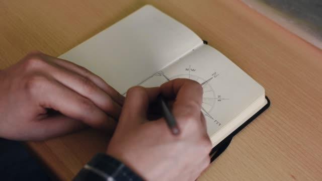 vídeos y material grabado en eventos de stock de alguien está dibujando una brújula en un pequeño cuaderno - dibujar