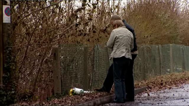failand: longwood lane: ext david yeates and teresa yeates laying bunch of yellow roses at roadside , then joined by chris yeates and greg reardon ,... - イングランド南西部点の映像素材/bロール