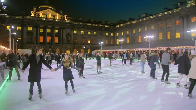 somerset house xmas ice rink - ice rink stock videos & royalty-free footage