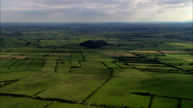 somerset levels  - aerial view - england, somerset, sedgemoor district, united kingdom - somerset england stock videos & royalty-free footage