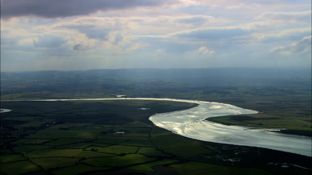 somerset levels  - aerial view - england, somerset, sedgemoor district, united kingdom - somerset stock videos & royalty-free footage