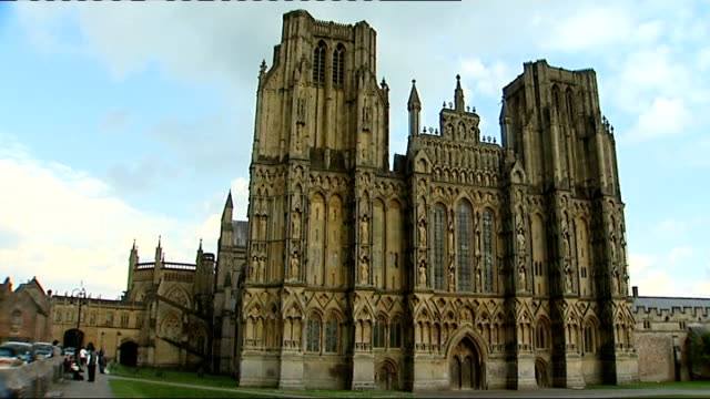 wells: ext bells ringing in cathedral and detail on cathedral walls - wells cathedral stock videos & royalty-free footage