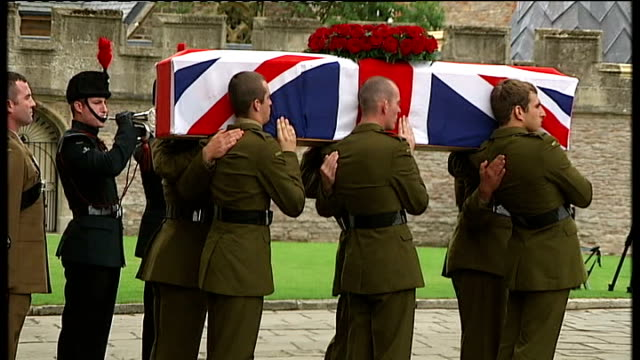 coffin carried from cathedral as last post played sot - wells cathedral stock videos & royalty-free footage